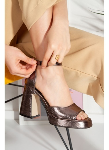 Derithy Crıstına Topuklu Ayakkabı-Platın-Byc1002 Gümüş
